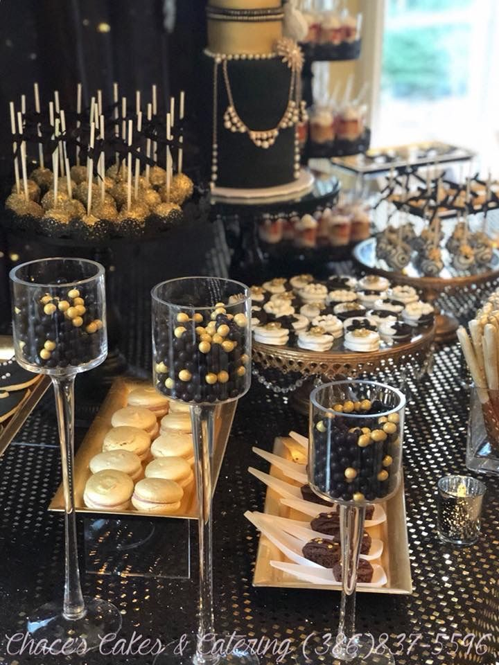 Black Gold Dessert Bar Https Www Facebook Com Chacescakes Gatsby Birthday Party Black And Gold Party Decorations Black Gold Party