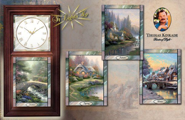 Thomas Kinkade Wall Clock With Stained Glass Art Time
