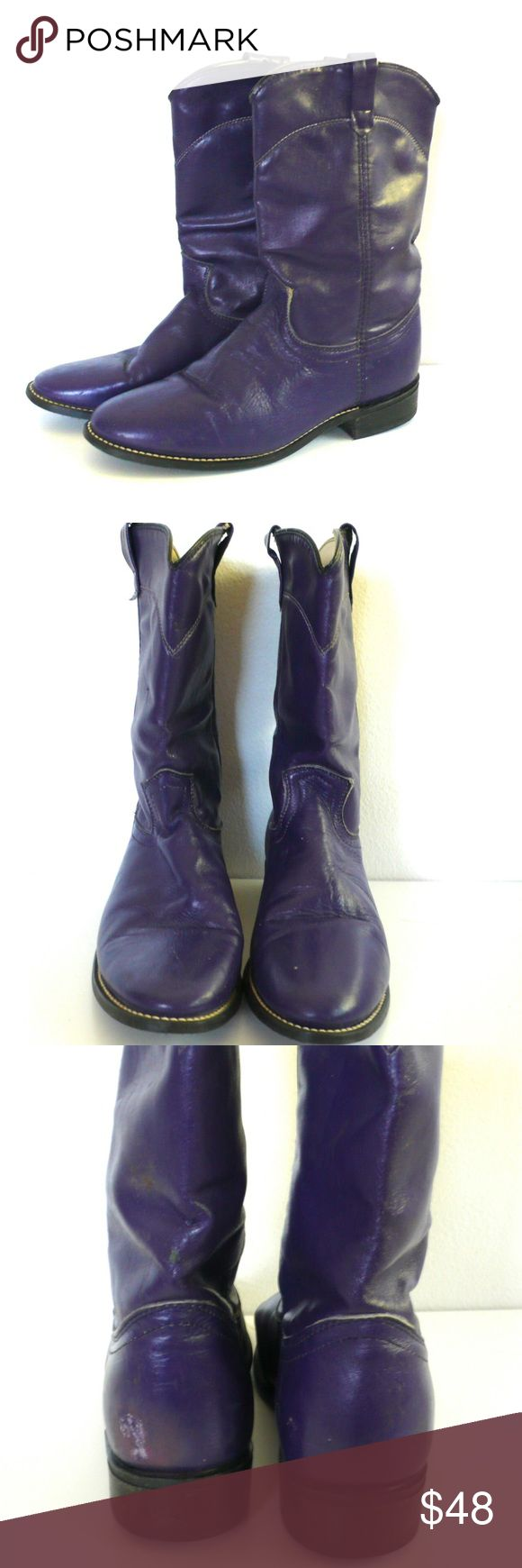 "Vintage Acme Purple Leather Cowboy Boots // 8 1/2 Awesome pair of vintage cowboy boots. ACME, made in USA. Bright purple leather, worn in perfectly. Very good condition, one spot of discoloration on inside of left boot, see photo. Size 8 1/2 M. 11"" tall, 10 3/4"" toe to heel outsole, 3 1/2"" at widest part of bottom. Vintage Shoes Ankle Boots & Booties"