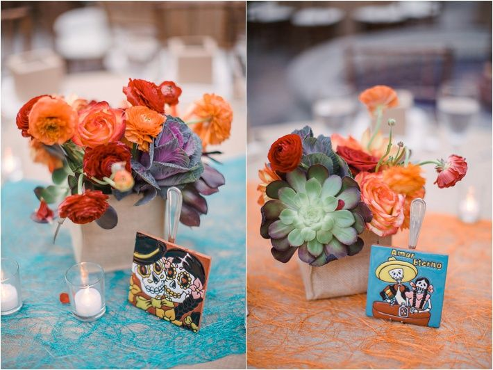 centerpieces: colorful flowers, fun Mexican thing,  votives, sheer colorful runner // Vintage Mexican Wedding Ideas