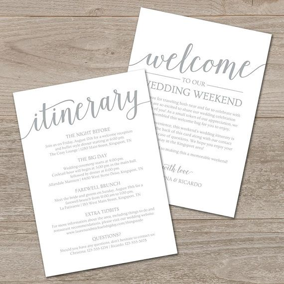 Welcome Wedding Itinerary Template Silver Wedding Welcome Etsy Wedding Itinerary Template Wedding Itinerary Wedding Signs Diy