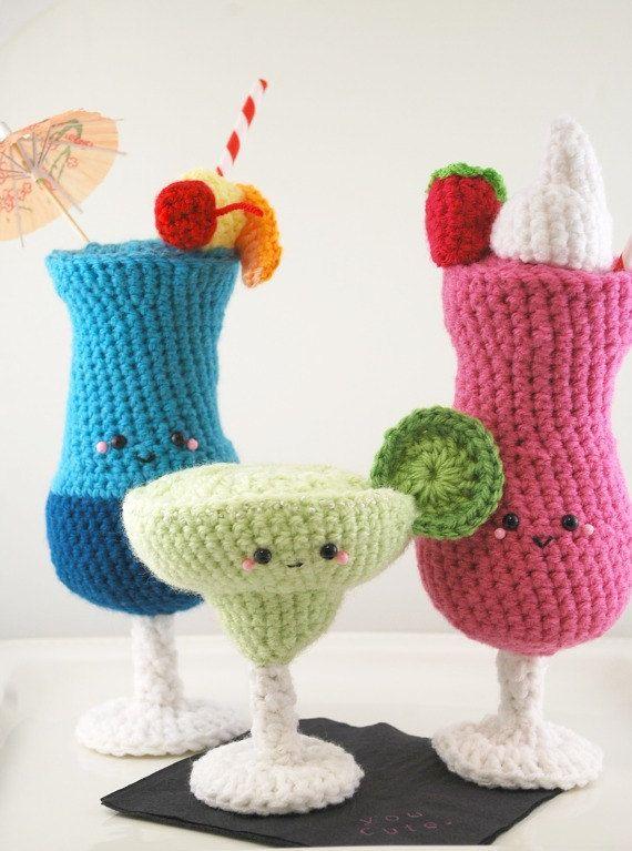 crochet strawberry daquiri amigurumi cocktail by youcute on Etsy, $45.00