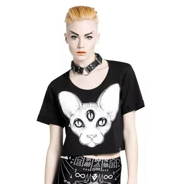 Harajuku summer new arrival women tops punk sphynx cat printed tees canadian hairless cat element printed crop tops