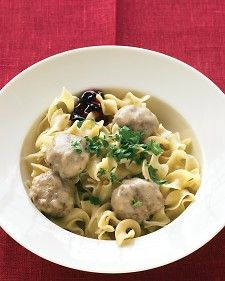 This Scandinavian favorite goes from appetizer to main in a flash (just add noodles), and it's ready when you are. It's traditional to serve these meatballs with sweet-tart lingonberry jam; if you can't find it, grape or red-currant jelly is a good substitute.