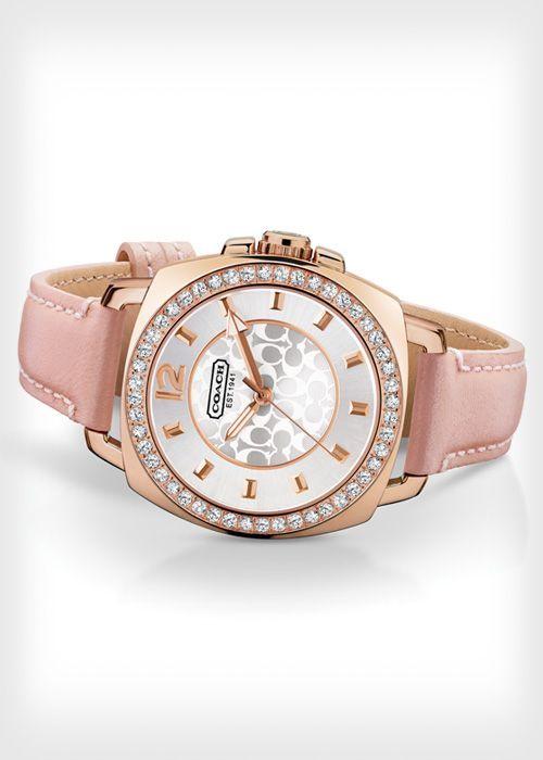 Coach Mini Boyfriend Pink Leather Strap Watch ($200)