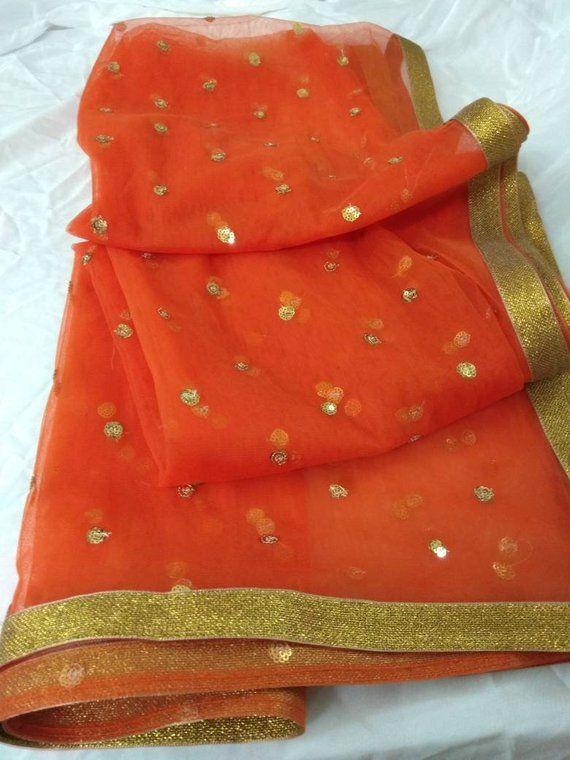 f7acdba6fc3 Designer Dupatta Chunni Stole Scarves Orange embroiderd Net for Lehenga  Suit Salwar Kameez for Women