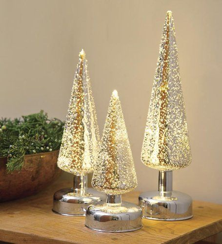 Lighted silver glass christmas trees set of tabletop