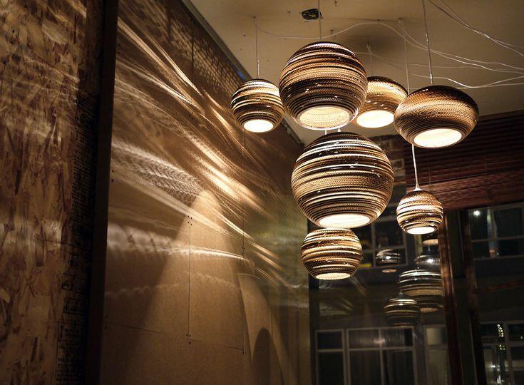 Fabulous moon inspired scrap lights by graypants: Pendants Lamps, Graypants, Cardboard Boxes, Lights Fixtures, Trav'Lin Lights, Lights Shades, Hanging Lanterns, Pendants Lights, Gray Pants