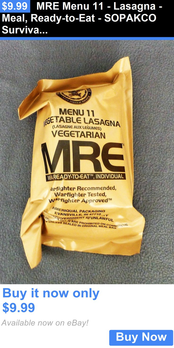Food And Drink: Mre Menu 11 - Lasagna - Meal, Ready-To-Eat - Sopakco Survival Food Storage BUY IT NOW ONLY: $9.99