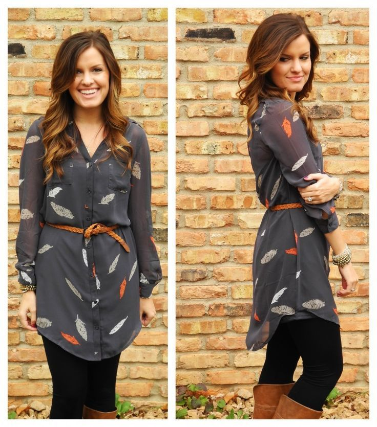 Shirt dress and leggings
