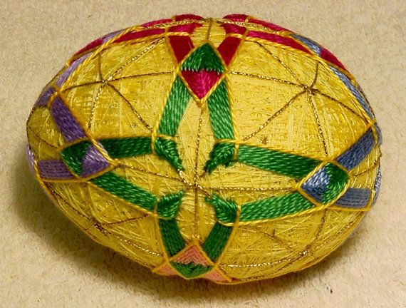 Japanese Temari Easter Egg by BethsTemariBalls on Etsy, $20.00