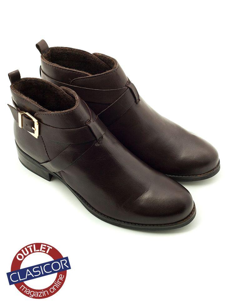 Botine din piele naturala, dama – 11116 maro inchis – Pantofi piele online / outlet incaltaminte piele | Clasicor