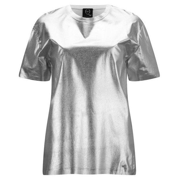 McQ Alexander McQueen Women's Boyfriend T-Shirt - Silver ($100) ❤ liked on Polyvore featuring tops, t-shirts, metallic, short sleeve tees, crewneck tee, oversized white t shirt, oversized t shirts and white boyfriend tee