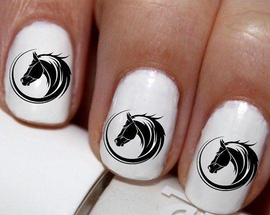 20 pc  Horse Head Horse Nail Art Nail Decals #cg0072na