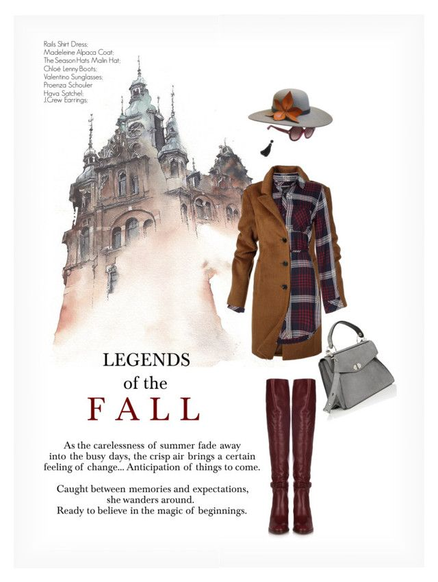 """LEGENDS OF THE FALL"" by paint-it-black ❤ liked on Polyvore featuring Valentino, The Season Hats, Chloé, Proenza Schouler, J.Crew, StreetStyle, plaid, shirtdress, CasualChic and FALLLOOK"