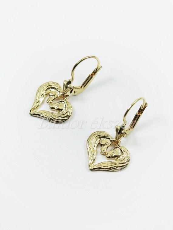 14K 2Horse Heart Earrings by BaldorJewelry on Etsy
