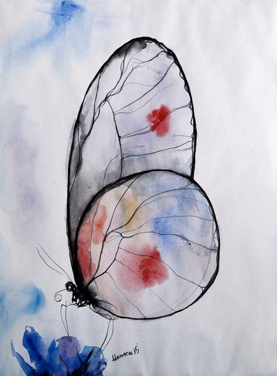 Pintura acuarela de mariposa obra de arte por AlisaAdamsoneArt                                                                                                                                                                                 Más
