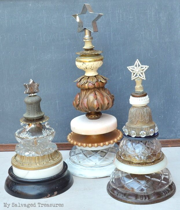 Christmas trees from junky lamp parts, by My Salvaged Treasures, featured on Funky Junk Interiors