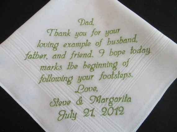Father In Law Wedding Gifts: Father-In-Law Wedding Gift Embroidered Handkerchief