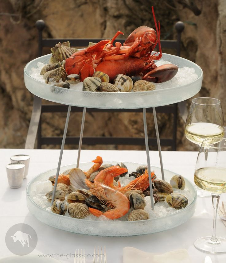 #Tiered #Seafood #Stand Fine dining crustacean and oysters presentation on glass platters designed by www.the-glass-co.com