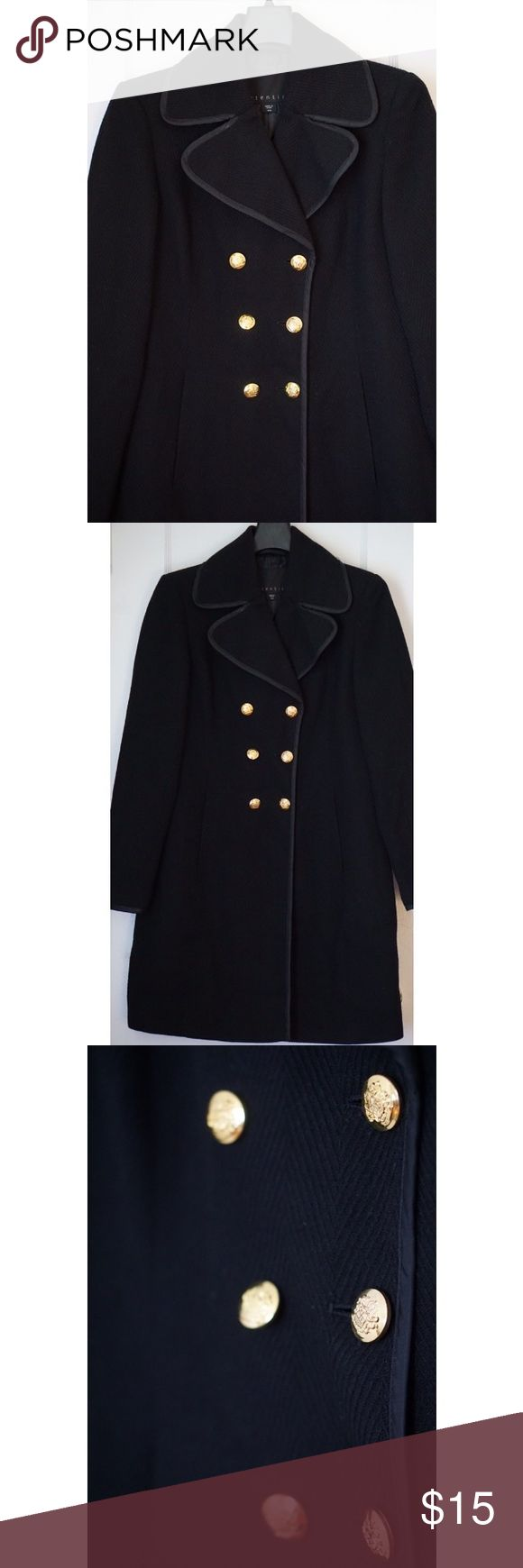 Black Pea Coat Comfortable and in great condition! Keeps you nice and warm. It also has a nice textured pattern with gold detailing. I'm 5'2 and it ends right below my knee. Jackets & Coats Pea Coats