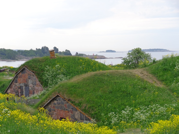 Finnish style Hobbit houses in Suomenlinna, the fortress island of Helsinki Finland