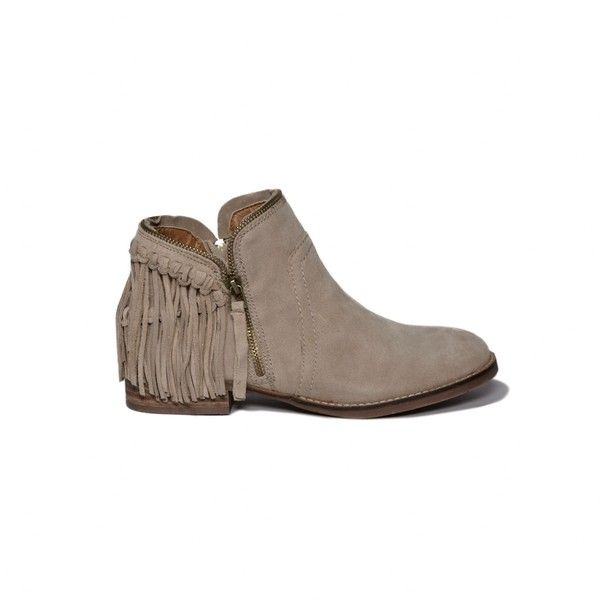 Abercrombie & Fitch Dolce Vita Fringe Ankle Boot ($70) ❤ liked on Polyvore featuring shoes, boots, ankle booties, tan, suede ankle boots, ankle boots, suede fringe booties, slouchy ankle boots and tan flats