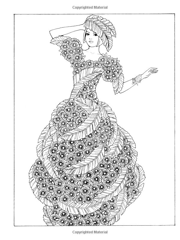 adult coloring book flower fashion fantasies designs relaxing art therapy new 0486498638 - Dover Coloring Books For Adults