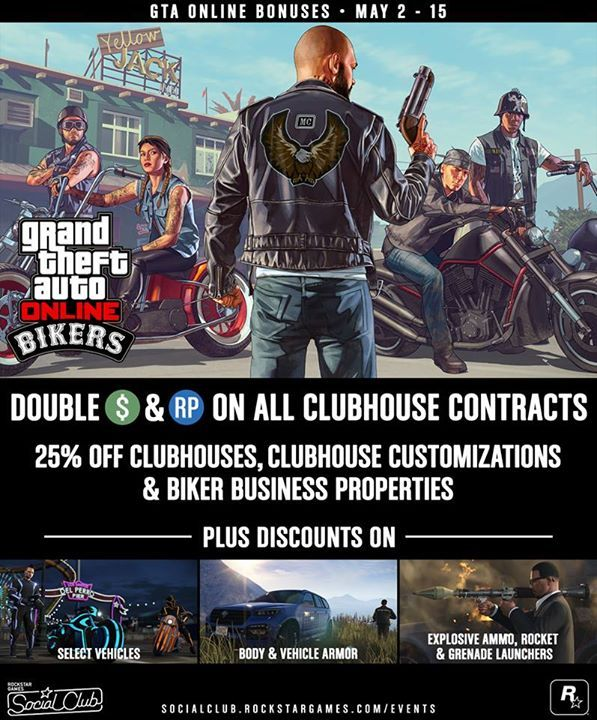 Now through May 15th, GTA Online has tons of money-making opportunities and discounts.   Bikers earn Double GTA$ and RP on all Clubhouse Contracts.    Pick up Clubhouses and Biker Businesses Properties for 25% off.   Also, get 25% off select Vehicles, Weapons and more: http://rsg.ms/516c771 #tablet #smartphone #android #windows #3dprinting #gaming