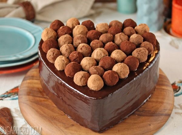 Truffle-Topped Heart Cake | SugarHero.com - This looks aaaahhhmazing...