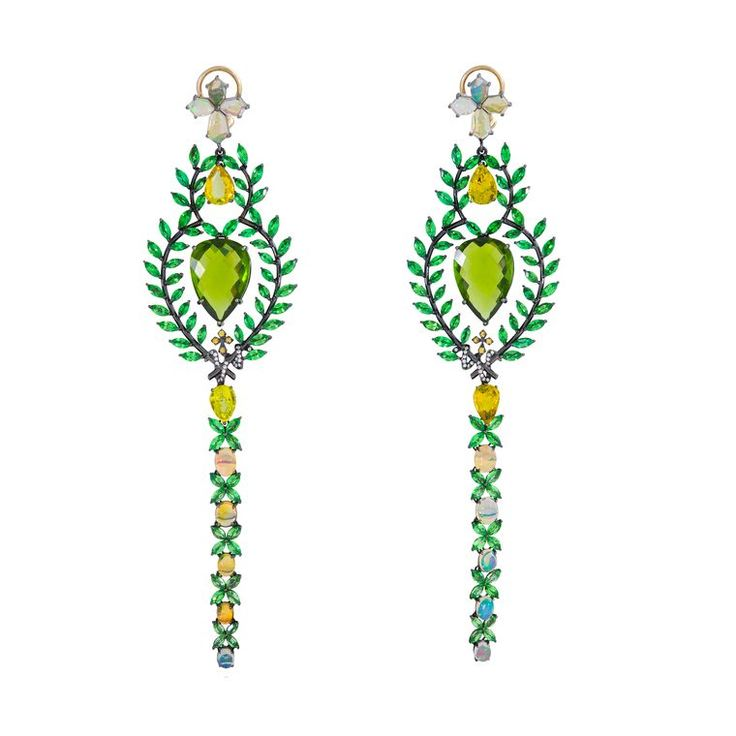 Lydia Courteille ~ Queen of Sheba earrings set with tsavorites, opals, diamonds, sapphires, peridots and tourmalines
