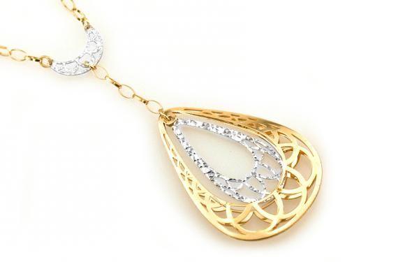 Zlatý dámsky náhrdelník z bieleho a žltého 14 karátového zlata