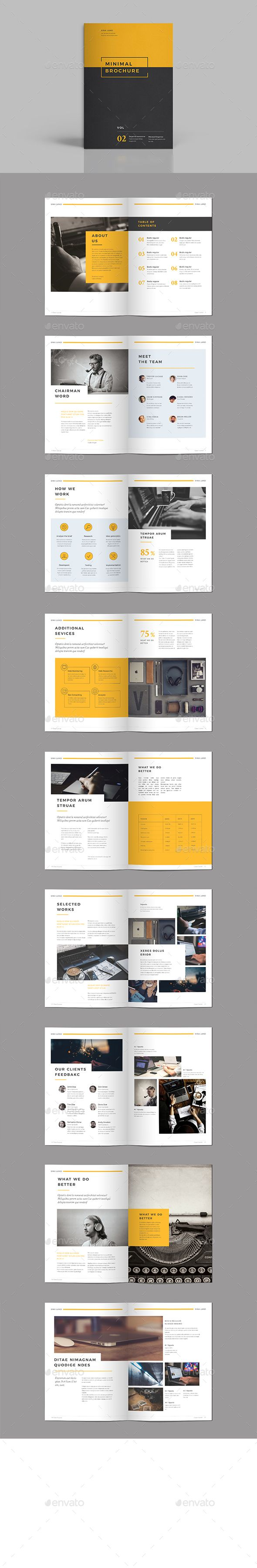 Minimal Brochure Design Template Vol III - Brochures Design Print Template InDesign INDD. Download here: https://graphicriver.net/item/minimal-brochure-vol-iii/19330885?ref=yinkira
