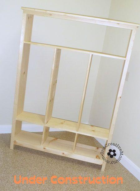 DIY Storage Lockers for Kids -- No Mudroom? No problem! {OneCreativeMommy.com}