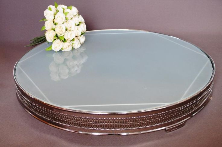 Wedding  Round Frosted Glass 22 inch Cake Stand - Hire - WeddingWish.com.au