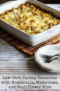 Always Hungry?  Turkey Casserole with Mushrooms, Mozzarella, and Cauliflower Rice  found on KalynsKitchen.com