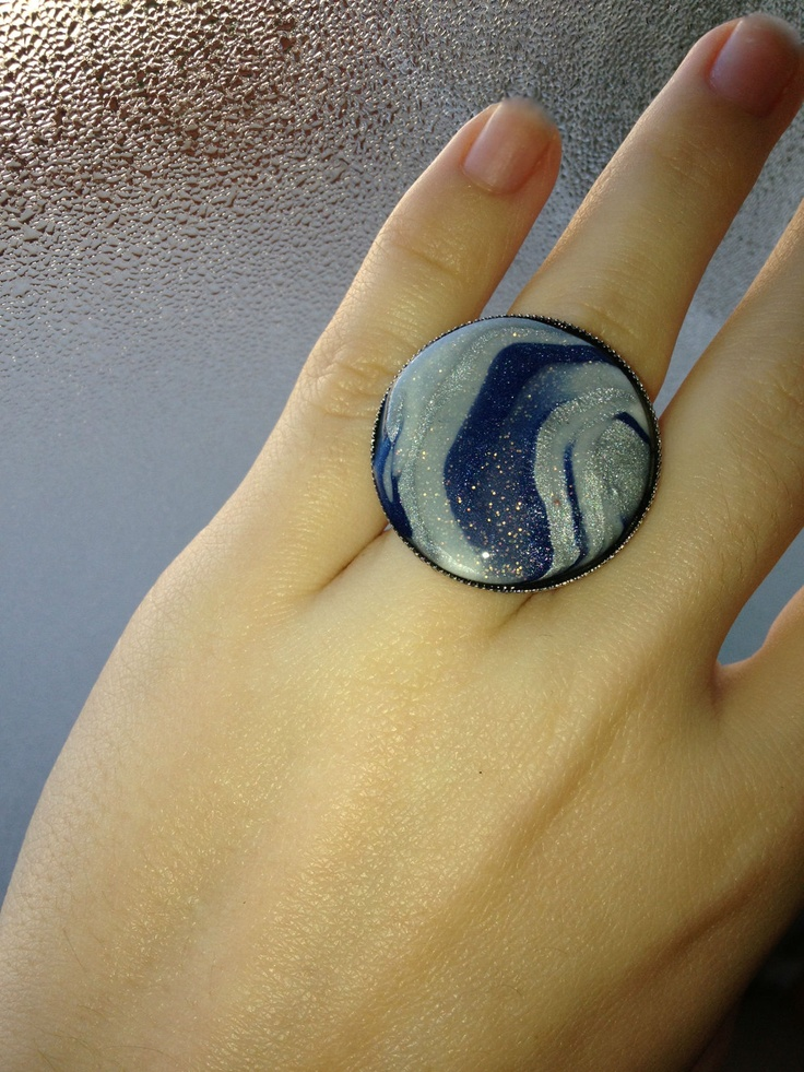 Handmade ring with fimo and liquid glass