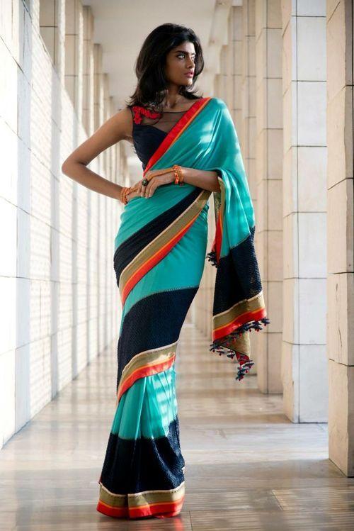 colorblock sari