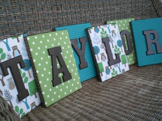 Wall Letters, Framed Monogram, Dwell Studio Owl Sky, 8x10, Painted Letters, Wood Letters,Monogram, Upholstered Letters, Fabric Letters