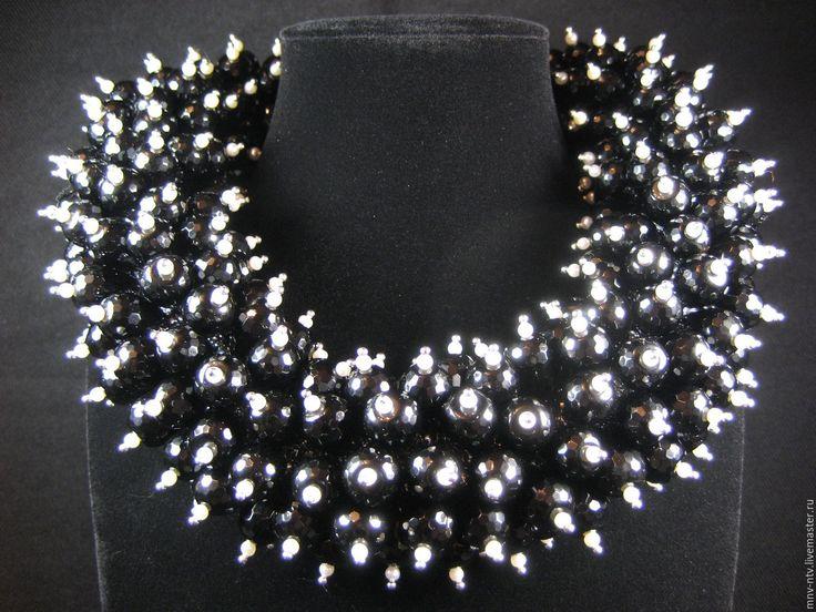 Купить КОЛЬЕ ИЗ ЧЁРНОГО ОНИКСА - серебряный, черный цвет, черный оникс, жемчуг натуральный