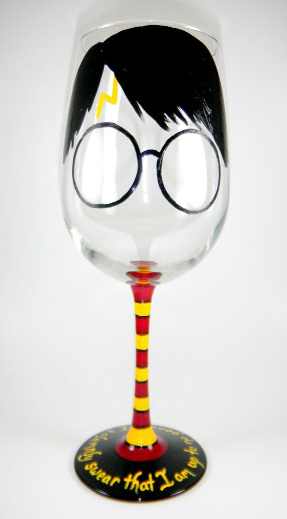 Harry Potter inspired Wine Glass by ImpulsiveCreativity on Etsy