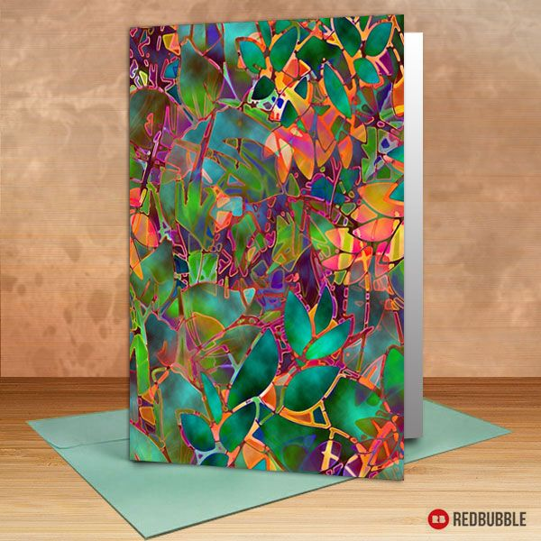 """SOLD Greeting Card """"Floral Abstract Stained Glass"""" https://www.redbubble.com/people/medusa81/works/10760240-floral-abstract-stained-glass?asc=u #redbubble #greeting #card #cards #holidays #glass #stained #glossy #floral #leaves #abstract #red #orange #green #glasswindow"""