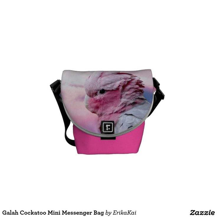 Pink Birds Galah Cockatoo Mini Rickshaw Messenger Bag. Water resistant, extra durable. Interior and binding 20 color options.