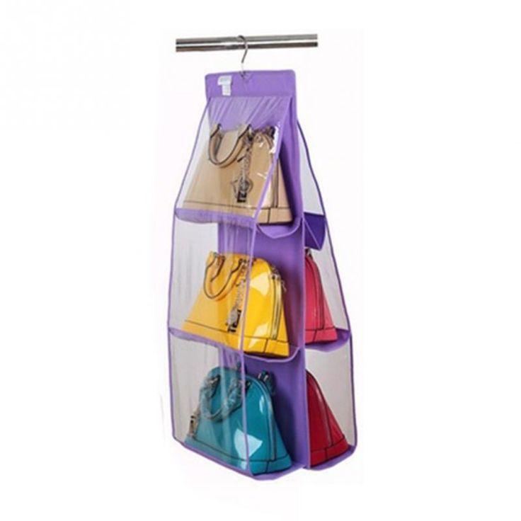 2016 New 6 Pockets Hanging Storage Bag Purse Handbag Tote Bag Storage  Organizer Closet Rack Hangers