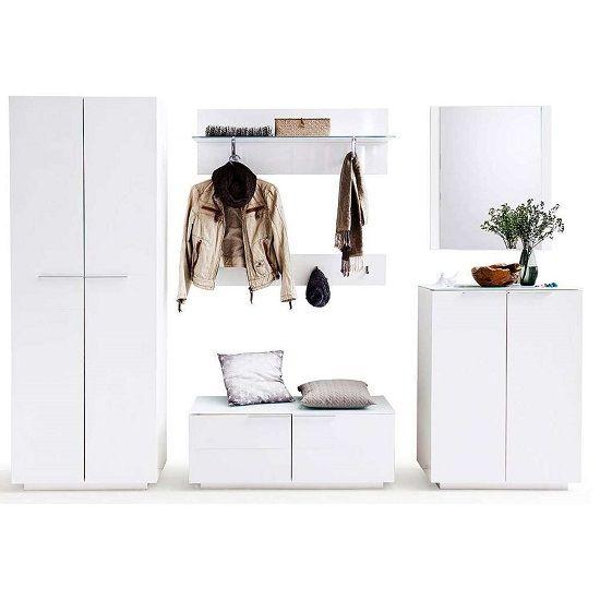 Canberra Hallway Furniture Set 1 In White High Gloss And Glass  #furnitureinfashion #hallway #shoecabinet #shoestorage #hallway storage #modernhallway #interiordesignideas #whiteglossstorage