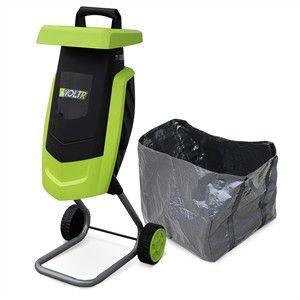 Photo de  Broyeur à végétaux électrique VOLTR, 2200W avec sac de récupération, poussoir, roulettes, broyage des branches pour engrais ou compost