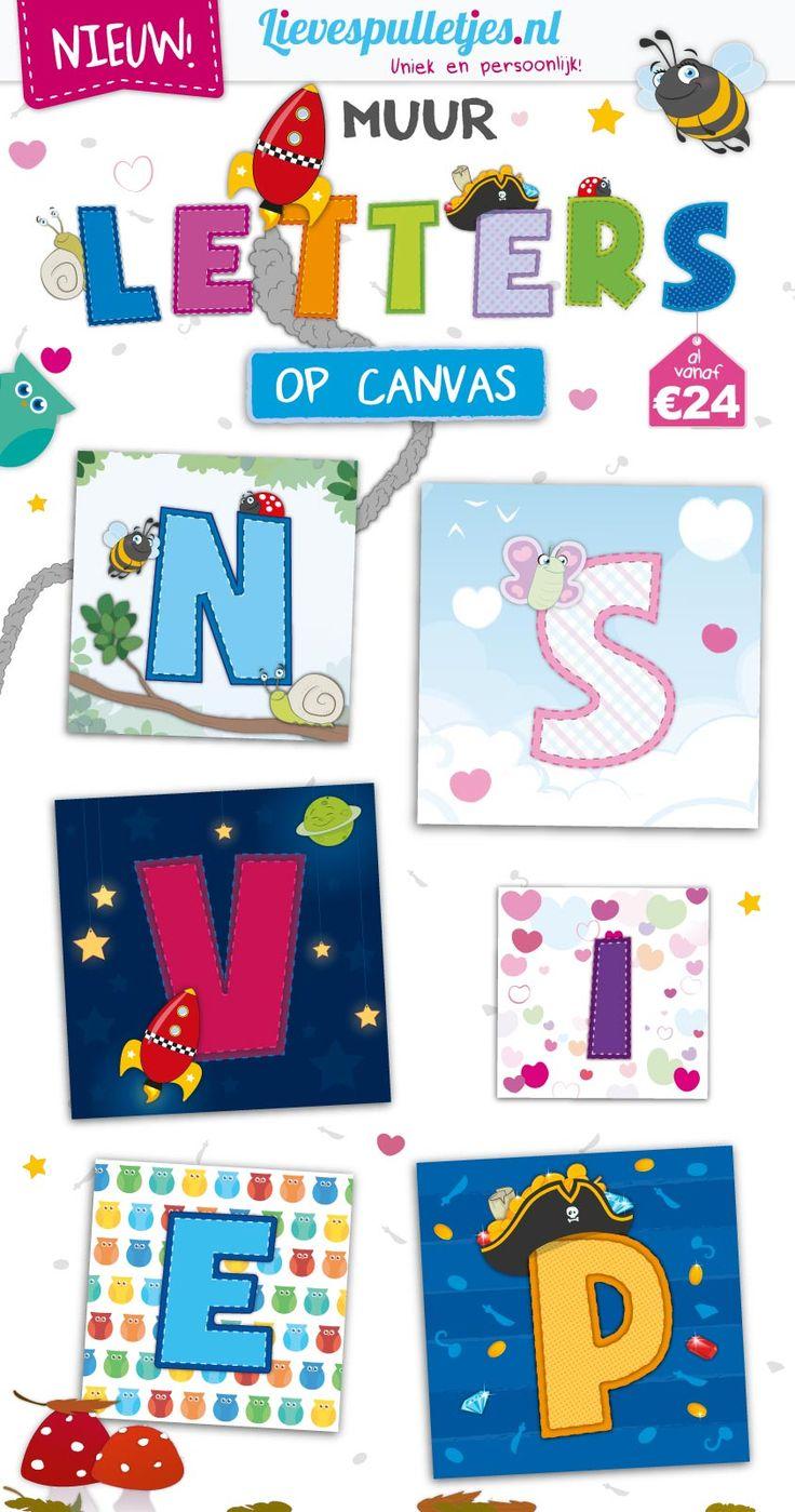 Nieuw in onze winkel: Muurletters op canvas. Unieke, lieve en schattige illustraties samen met jouw persoonlijke letter. www.lievespulletjes.nl/muurletters