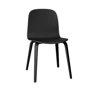 Visu tuoli, puujalusta, musta