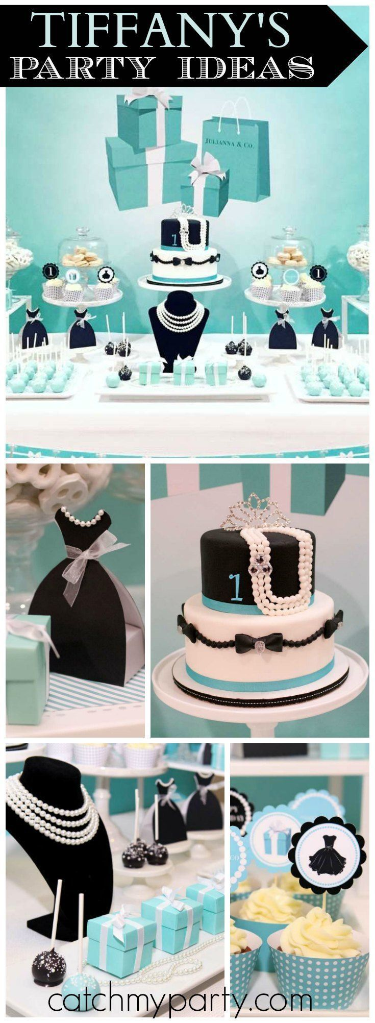 How adorable is this Tiffany themed first birthday party?! See more party ideas at http://CatchMyParty.com!