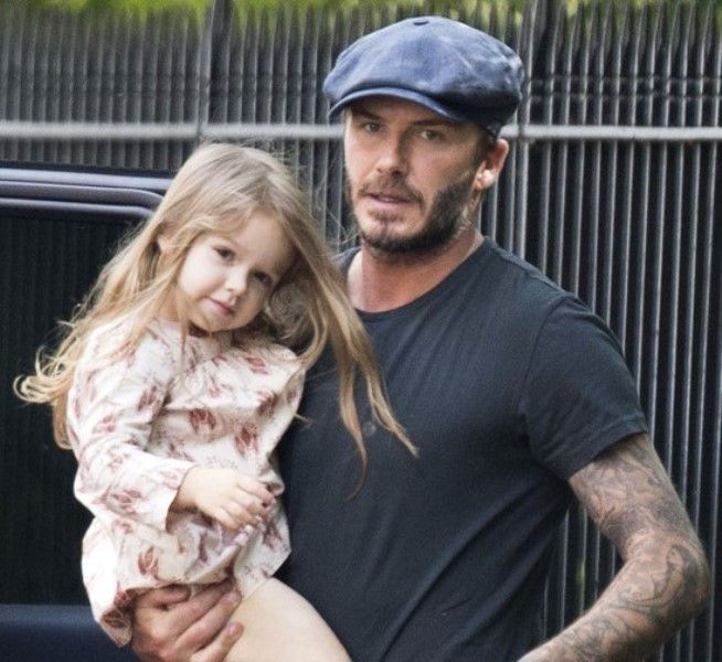 David and Harper Beckham with long hair in London|Lainey Gossip ...